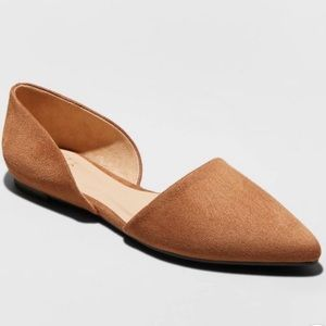 A New Day Suede Cognac Ballet Flats Size 7.5 New